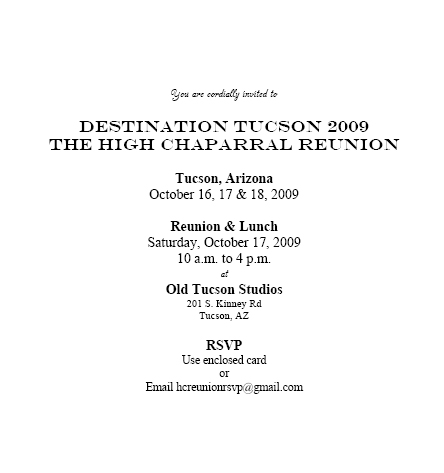 High Chaparral Reunion invitation thats been sent to the guest list